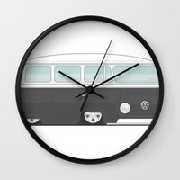 vw bus Wall Clocks featuring Low VW Bus by leducland