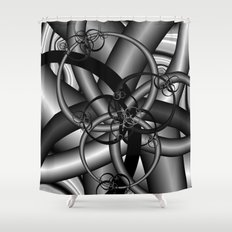 Black and White Fractal 9 Shower Curtain
