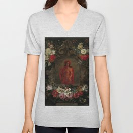 """Jan Brueghel The Elder """"Cartouche with a personification of America, surrounded by flowers"""" Unisex V-Neck"""
