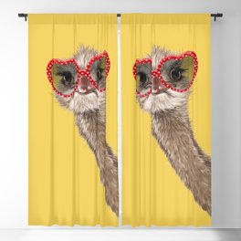 Fashion Hipster Ostrich in Yellow Blackout Curtain