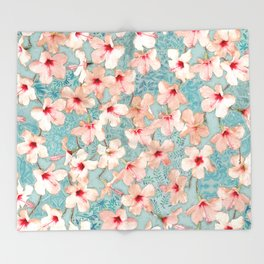 Shabby Chic Hibiscus Patchwork Pattern in Peach & Mint Throw Blanket