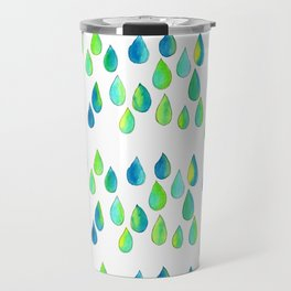 Cherish All of Your Tears blue green pattern tears illustration watercolor inspirational words Travel Mug