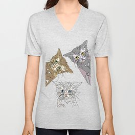 Triple Kitties Unisex V-Neck