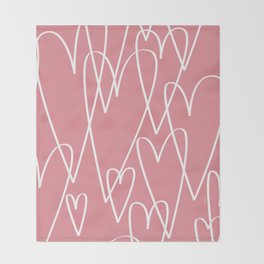Doodle Hearts in Pink by Friztin Throw Blanket