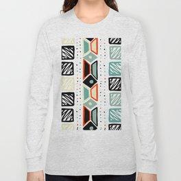 Abstract geometrical black orange ivory green squares polka dots Long Sleeve T-shirt