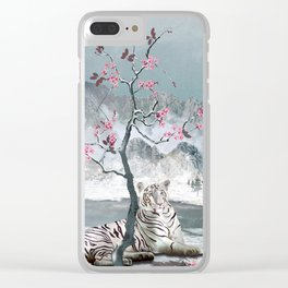 White Tiger And Plum Tree Clear iPhone Case