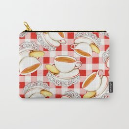 Cup of Tea, a Biscuit and Red Gingham Carry-All Pouch
