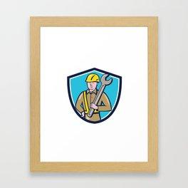 Construction Worker Spanner Shield Cartoon Framed Art Print