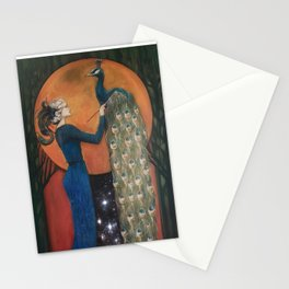 Origin of Inspiration // Peacock Painting Woman Portrait Art Nouveau Bird Stars Goddess Feather Stationery Cards