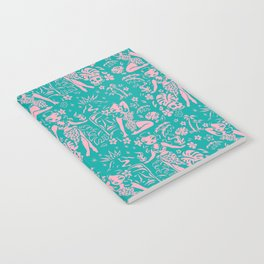 Tiki Temptress in Pink and Turquoise Notebook