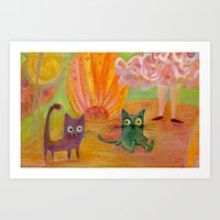 kittens Art Prints featuring kittens by Bunny Noir