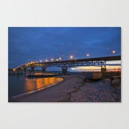 Coleman Bridge At Sunrise Canvas Print