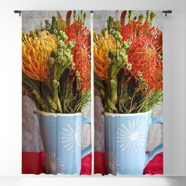 Flowers in a vase - with Pincushion Protea Blackout Curtain