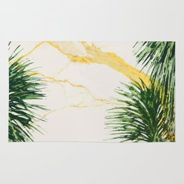 Gold marble texture with palm tree 1 Rug