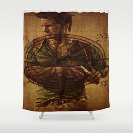 Compass of Uncharted Lands Shower Curtain