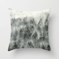 leaves Throw Pillows featuring Everyday by Tordis Kayma