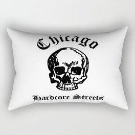 Chicago Illinois Hardcore Streets Urban Streetwear White Skull, Super Sharp PNG Rectangular Pillow