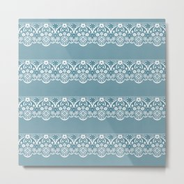 Blue lace fabric. Graphic design. Metal Print