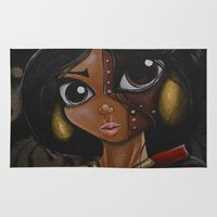 jasmine Area & Throw Rugs featuring Steampunk Jasmine  by Annelies202