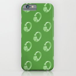 Green over ear headphones on a green background iPhone Case