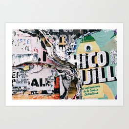 Torn mexican posters wall Art Print