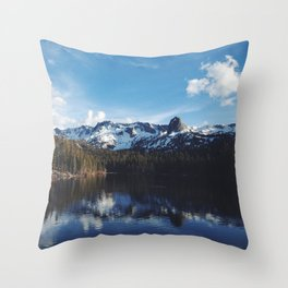 Snowy Peak and Lake Throw Pillow