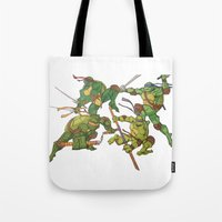 tmnt Tote Bags featuring TMNT by Brittany Ketcham