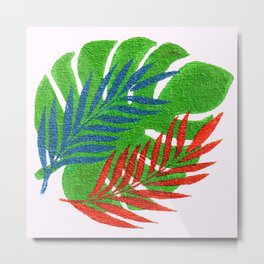Tropical Palm Leaves and Monstera Leaf Metal Print