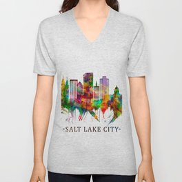 Salt Lake City Utah Skyline Unisex V-Neck