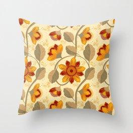 Vintage Floral Botanical Illustration Throw Pillow
