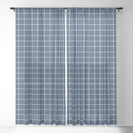 Grid Pattern - navy and white - more colors Sheer Curtain