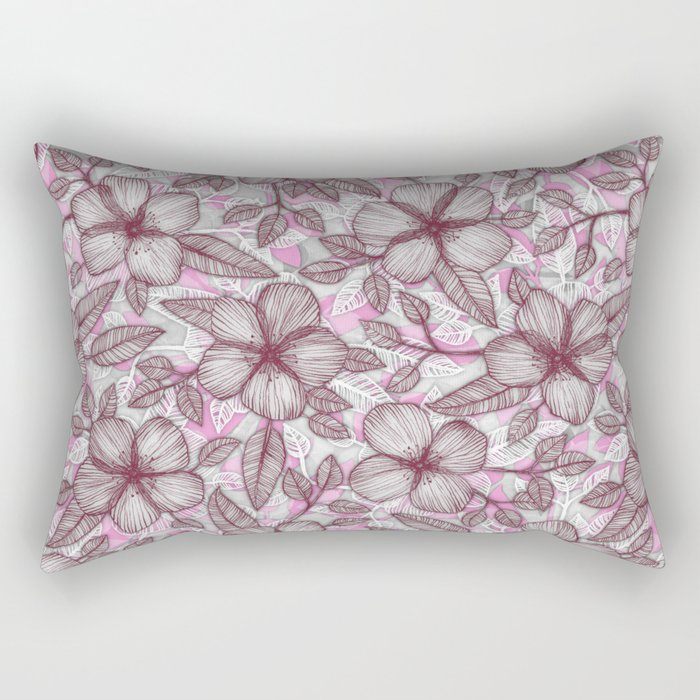Spring Blossom in Marsala, Pink & Plum Rectangular Pillow