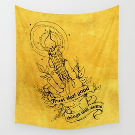 Candle Light Hope (Yellow Colors) Wall Tapestry
