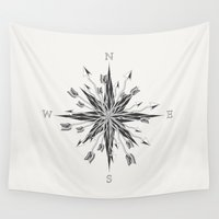 compass Wall Tapestries featuring Arrow Compass by By Nordic