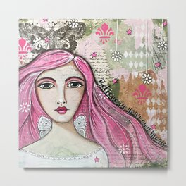 Believe in Your Own Magic Mixed Media Fairy Girl Metal Print