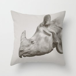 Rhino Photography | Warm Grey | Animals Throw Pillow