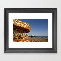 Golden Carousel at the Beach Framed Art Print