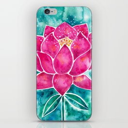 Sacred Lotus – Magenta Blossom with Turquoise Wash iPhone Skin
