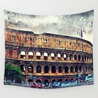 rome Wall Tapestries featuring Colosseum Rome by jbjart