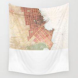 Vintage Map of San Francisco CA (1853) Wall Tapestry