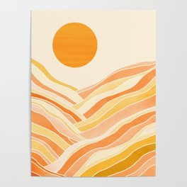 Golden Mountain Sunset Poster