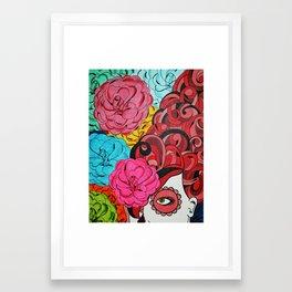 Sugar Skull Girl and Roses Framed Art Print