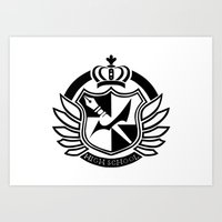 dangan ronpa Art Prints featuring Dangan Ronpa High School logo  by Prince Of Darkness