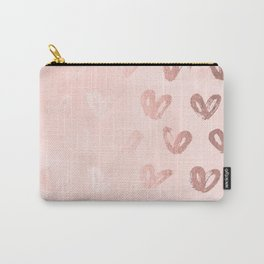 Rosegold Hearts on Pink Carry-All Pouch