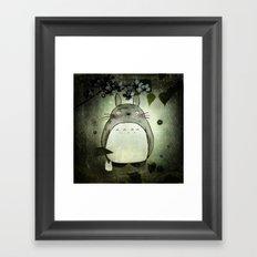Totoro in the rain Framed Art Print