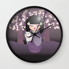 Kokeshi maneki neko Wall Clock