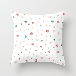 Trace doodle paw prints pattern background with Christmas new years background Throw Pillow