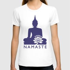 Namaste LARGE Womens Fitted Tee White