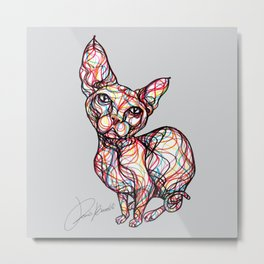 sweet cat line style - gatto dolce - chat doux - gato dulce Metal Print