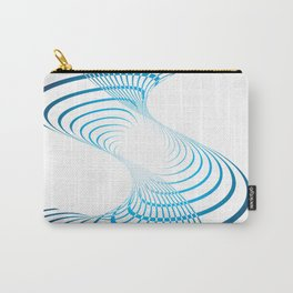BLUE CURVES ON A WHITE BACKGROUND Abstract Art Carry-All Pouch